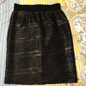 Alfani Black & Gold Pencil Skirt M